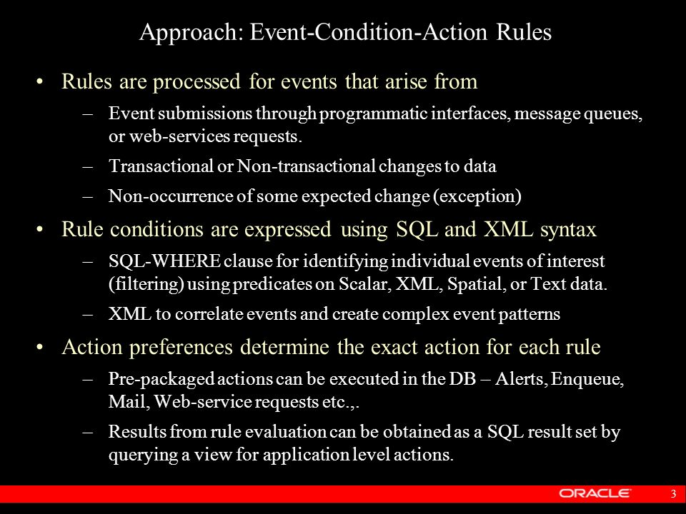 3 Approach: Event-Condition-Action Rules Rules are processed for events that arise from –Event submissions through programmatic interfaces, message qu