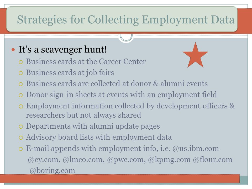 Strategies for Collecting Employment Data Its a scavenger hunt! Business cards at the Career Center Business cards at job fairs Business cards are col