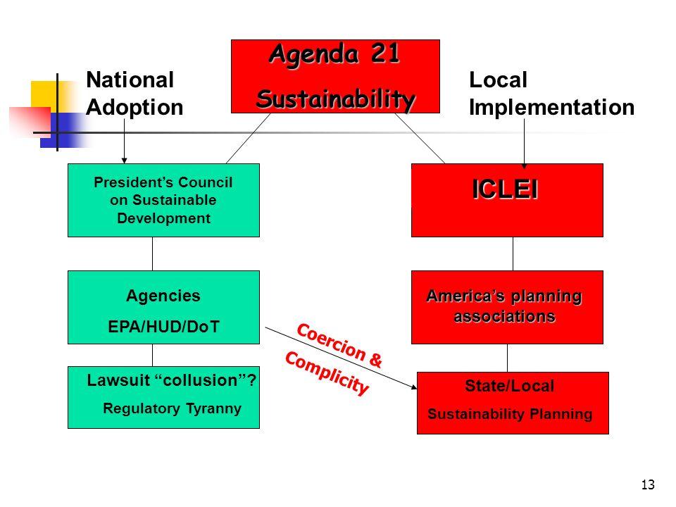 13 Agenda 21 Sustainability Presidents Council on Sustainable Development Agencies EPA/HUD/DoT ICLEI Americas planning associations National Adoption