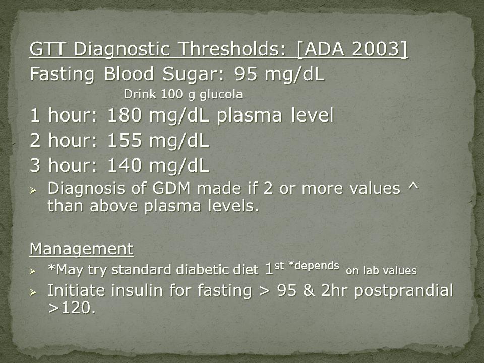 GTT Diagnostic Thresholds: [ADA 2003] Fasting Blood Sugar: 95 mg/dL Drink 100 g glucola Drink 100 g glucola 1 hour: 180 mg/dL plasma level 2 hour: 155