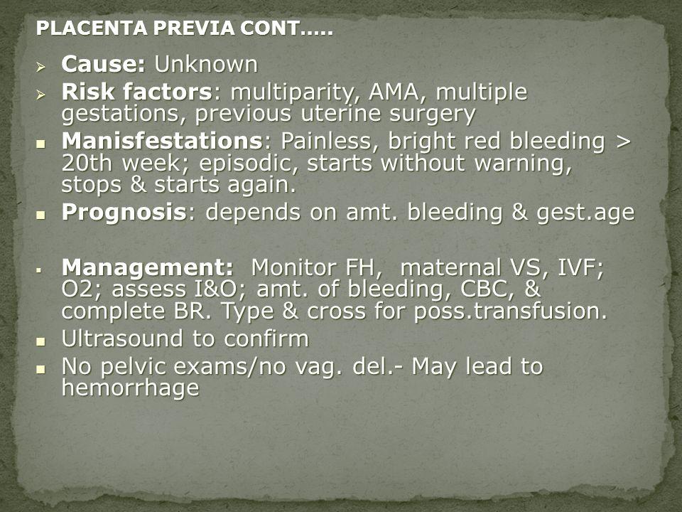 PLACENTA PREVIA CONT….. Cause: Unknown Cause: Unknown Risk factors: multiparity, AMA, multiple gestations, previous uterine surgery Risk factors: mult