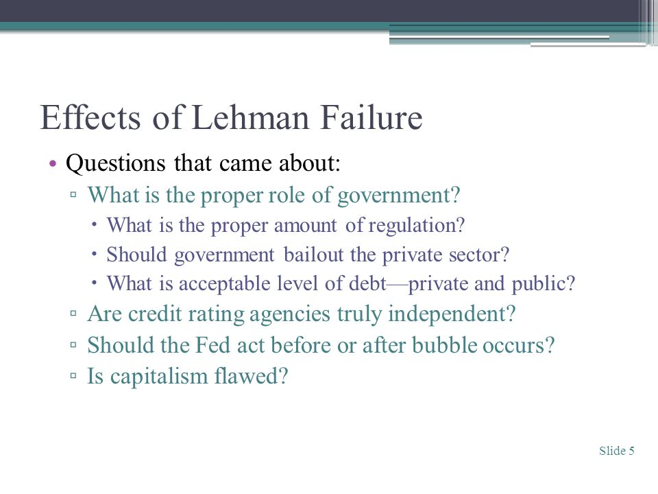 Effects of Lehman Failure Questions that came about: What is the proper role of government.