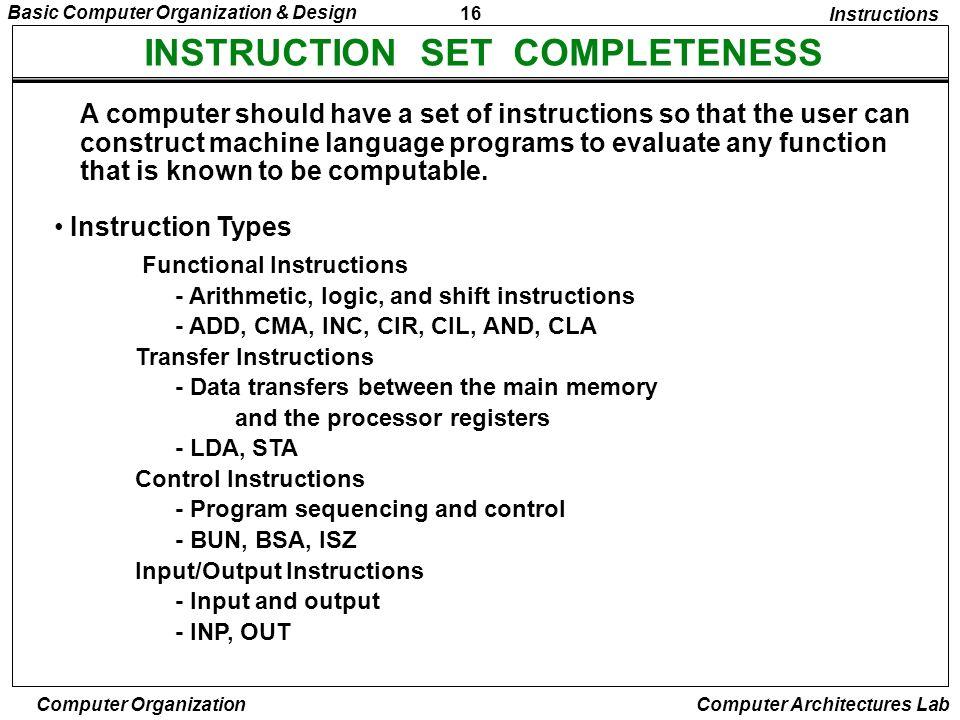 16 Basic Computer Organization & Design Computer Organization Computer Architectures Lab INSTRUCTION SET COMPLETENESS Instruction Types A computer sho