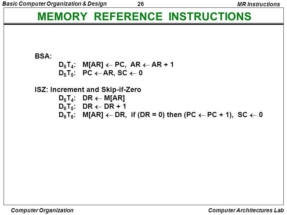 26 Basic Computer Organization & Design Computer Organization Computer Architectures Lab MEMORY REFERENCE INSTRUCTIONS MR Instructions BSA: D 5 T 4 :M