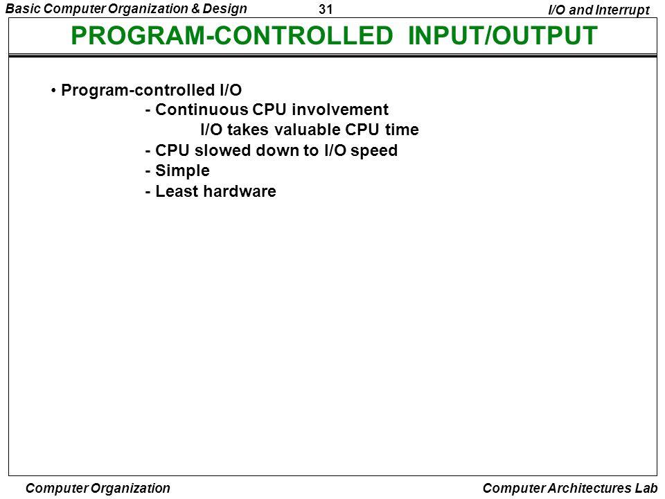 31 Basic Computer Organization & Design Computer Organization Computer Architectures Lab PROGRAM-CONTROLLED INPUT/OUTPUT Program-controlled I/O - Cont