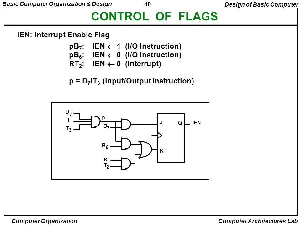 40 Basic Computer Organization & Design Computer Organization Computer Architectures Lab CONTROL OF FLAGS pB 7 : IEN 1 (I/O Instruction) pB 6 : IEN 0