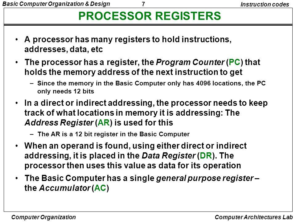 7 Basic Computer Organization & Design Computer Organization Computer Architectures Lab PROCESSOR REGISTERS Instruction codes A processor has many reg