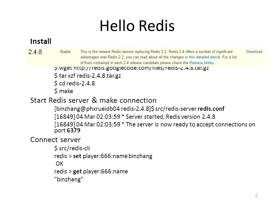 Redis Admin and maintenance: Configure Persistence(1) Persistence Mode: snapshotting and AOF.