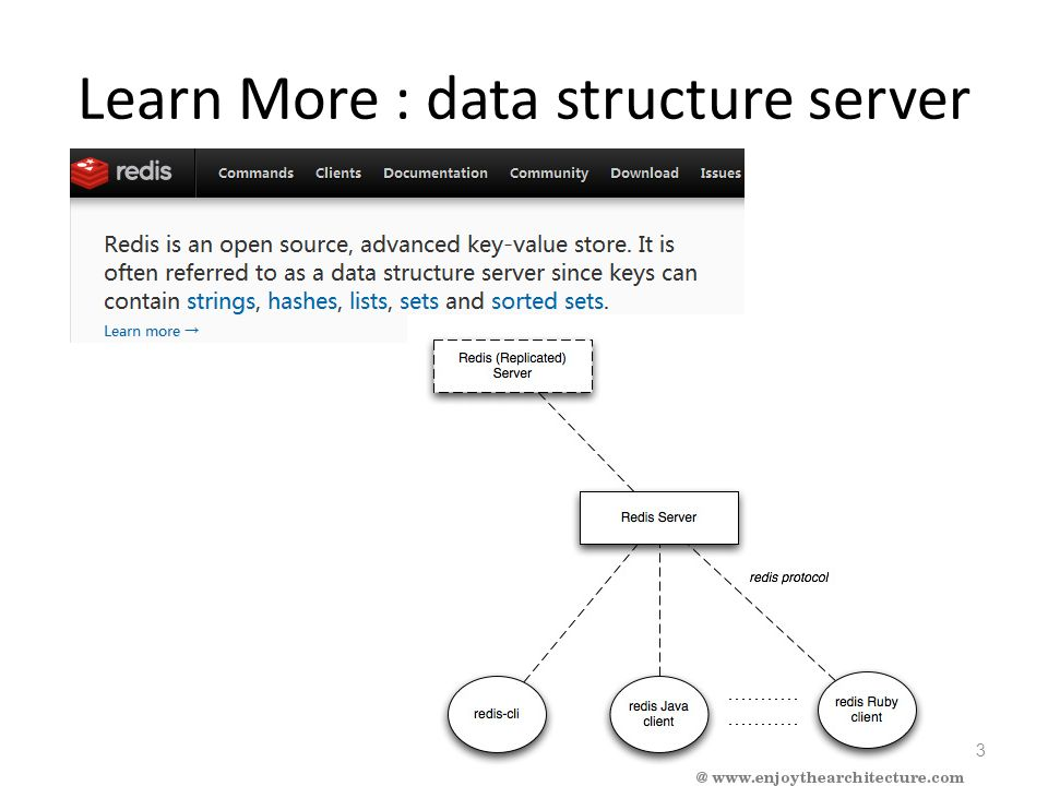 Data structure : strings, hashes, lists, sets, sorted sets.