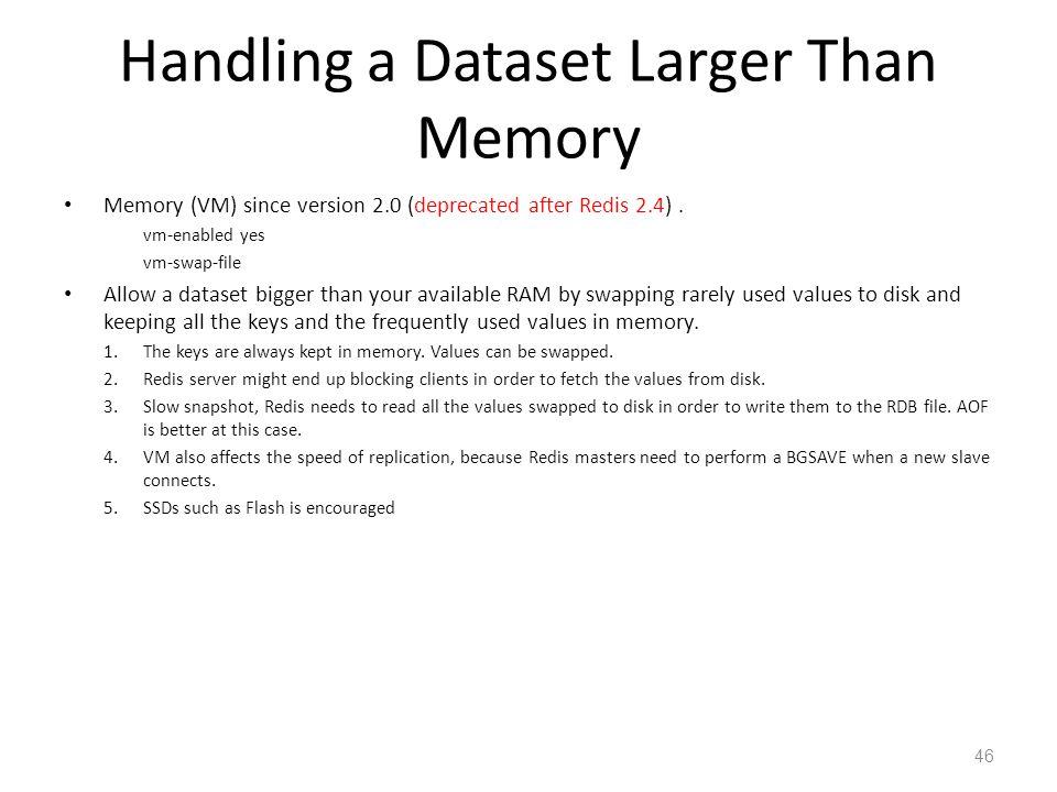 Handling a Dataset Larger Than Memory Memory (VM) since version 2.0 (deprecated after Redis 2.4). vm-enabled yes vm-swap-file Allow a dataset bigger t