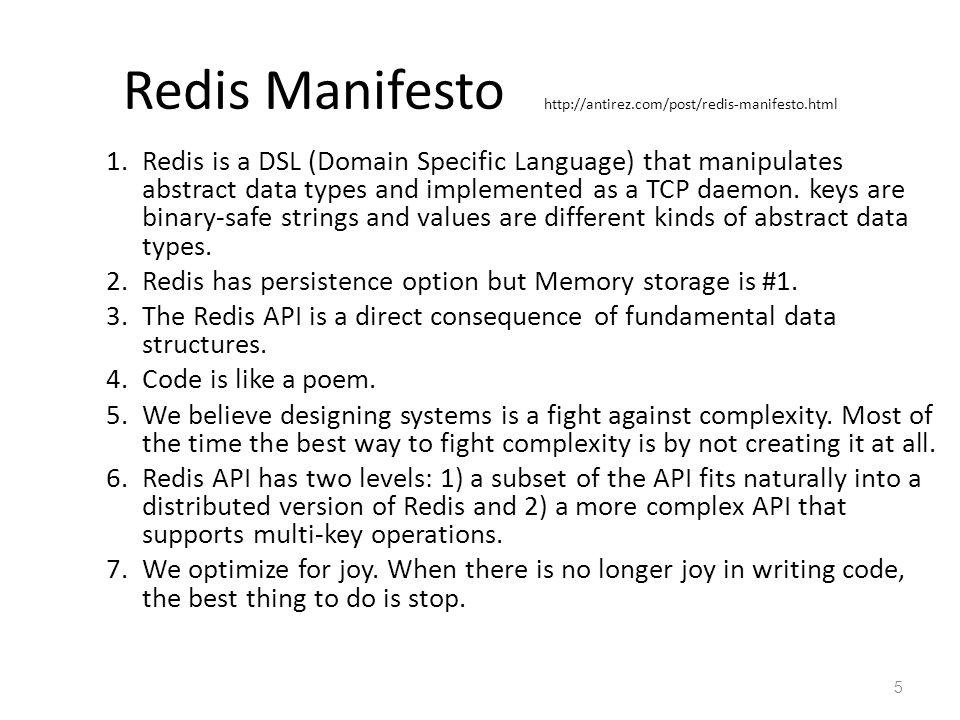Redis Manifesto : where is Redis.
