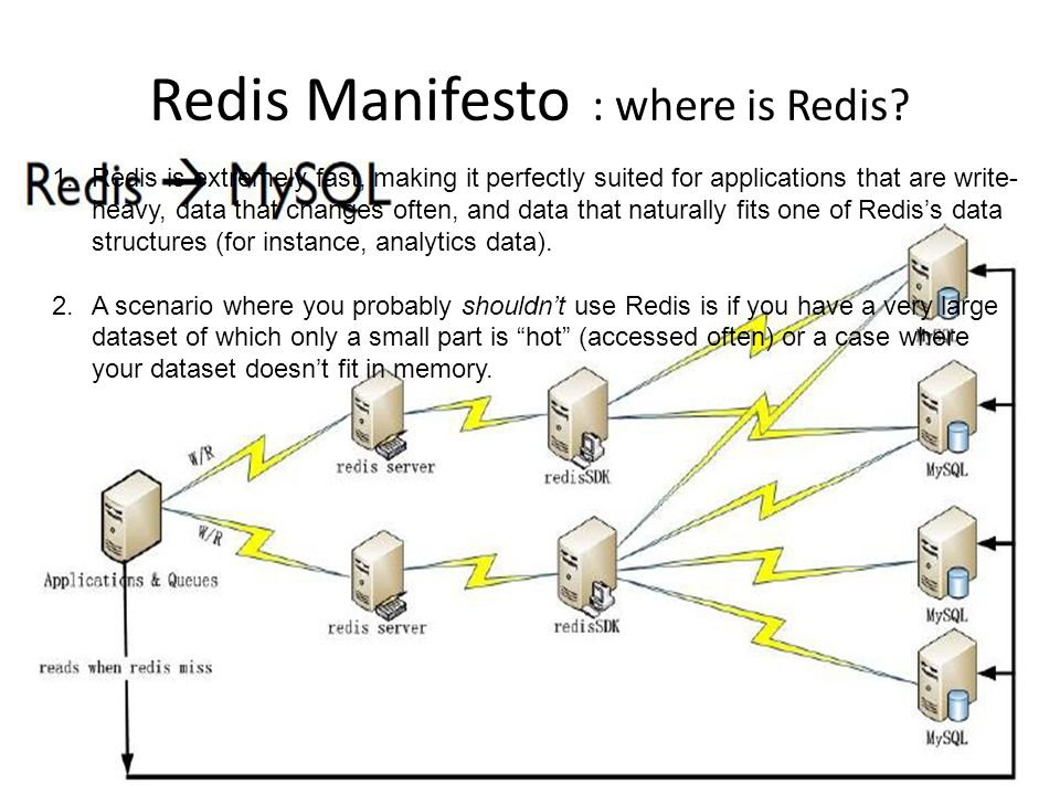 What if no available memory Redis will return an error on write operations, but read-only query still works Can specify maxmemory to define a hard limit for memory usage maxmemory-policy: specify the algorithm to use when we need to reclaim memory a.volatile-lru (default) remove a key among the ones with an expire set, trying to remove keys not recently used.