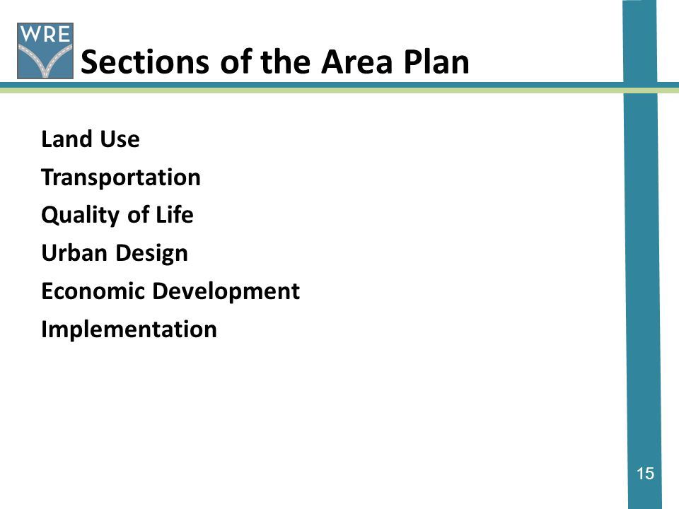 15 Sections of the Area Plan Land Use Transportation Quality of Life Urban Design Economic Development Implementation