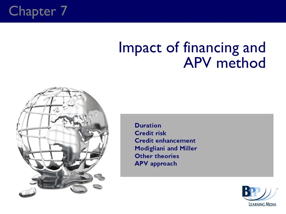 Chapter 7 Impact of financing and APV method Duration Credit risk Credit enhancement Modigliani and Miller Other theories APV approach