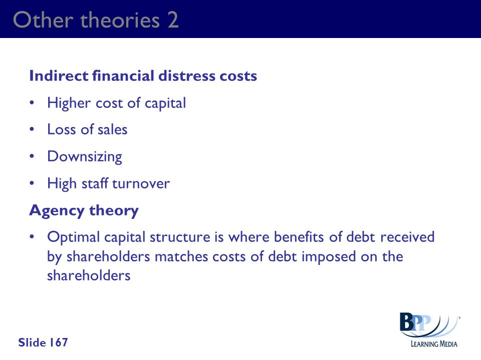 Other theories 2 Indirect financial distress costs Higher cost of capital Loss of sales Downsizing High staff turnover Agency theory Optimal capital s