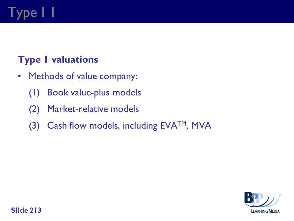 Type I 1 Type 1 valuations Methods of value company: (1)Book value-plus models (2)Market-relative models (3)Cash flow models, including EVA TM, MVA Sl