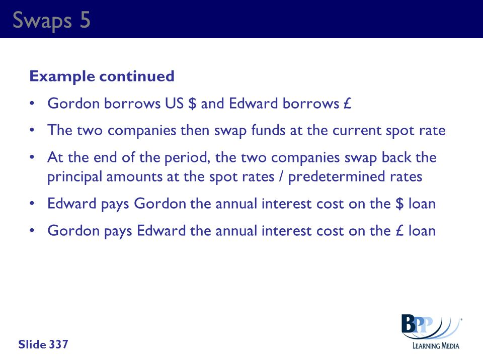 Swaps 5 Example continued Gordon borrows US $ and Edward borrows £ The two companies then swap funds at the current spot rate At the end of the period