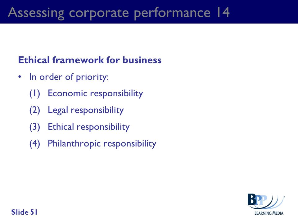 Assessing corporate performance 14 Ethical framework for business In order of priority: (1)Economic responsibility (2)Legal responsibility (3)Ethical