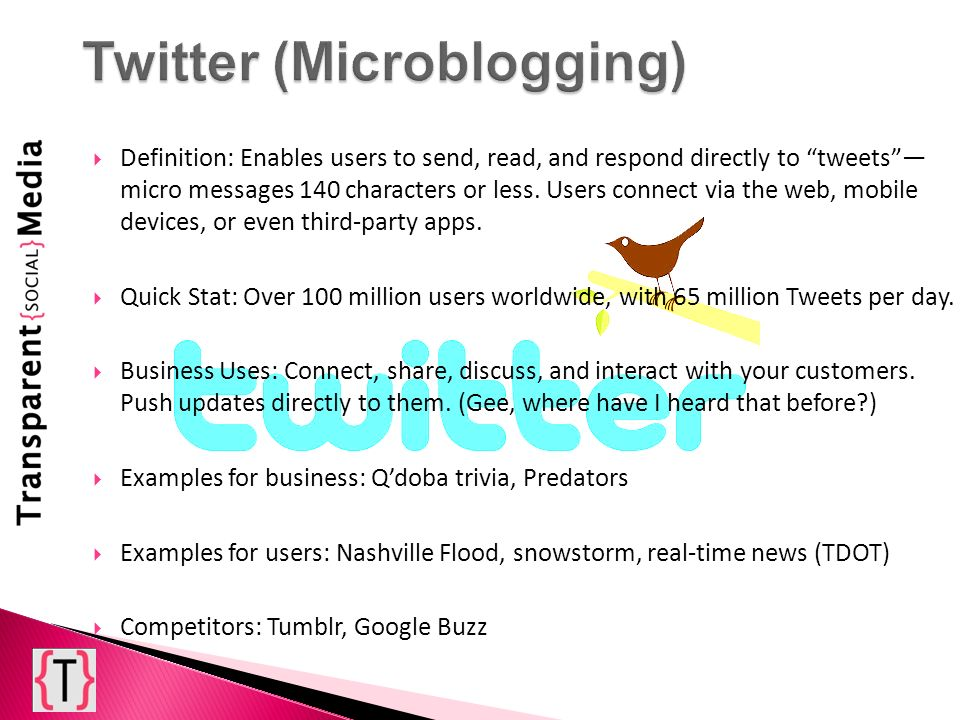 Definition: Enables users to send, read, and respond directly to tweets micro messages 140 characters or less.