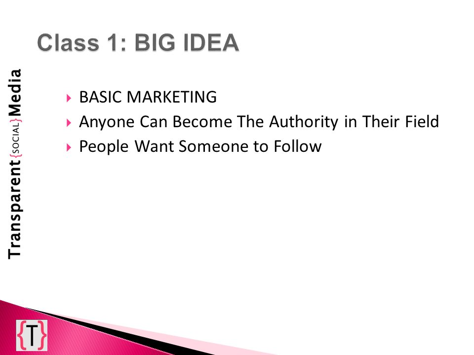 BASIC MARKETING Anyone Can Become The Authority in Their Field People Want Someone to Follow