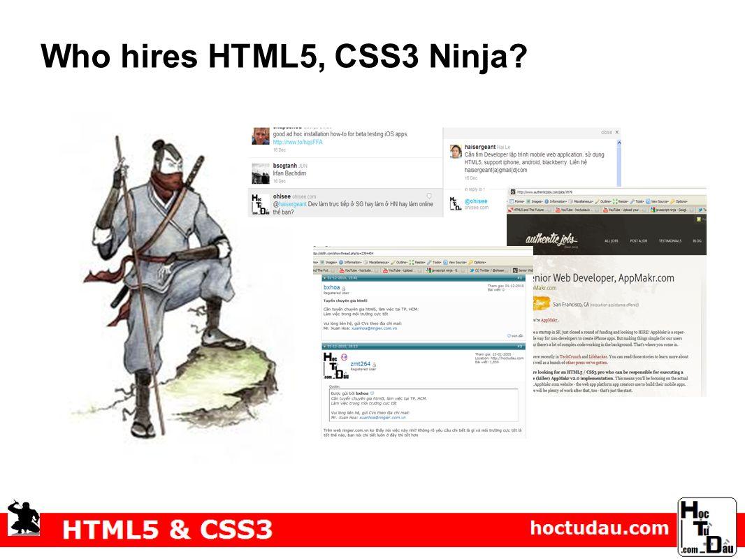 Who hires HTML5, CSS3 Ninja?