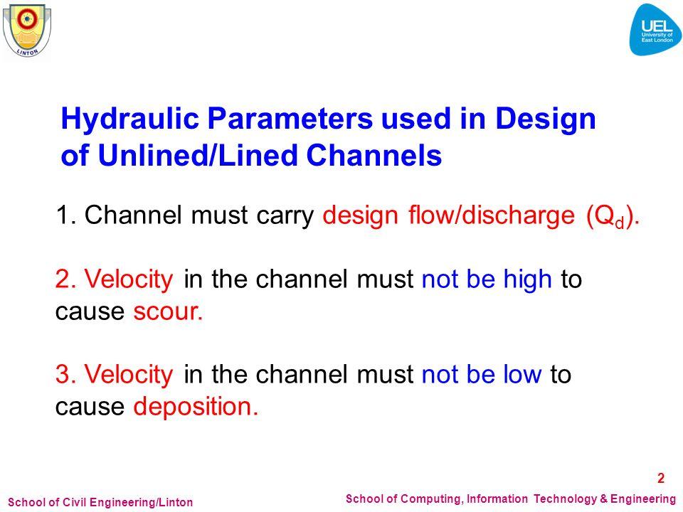 School of Civil Engineering/Linton School of Computing, Information Technology & Engineering 1. Channel must carry design flow/discharge (Q d ). 2. Ve