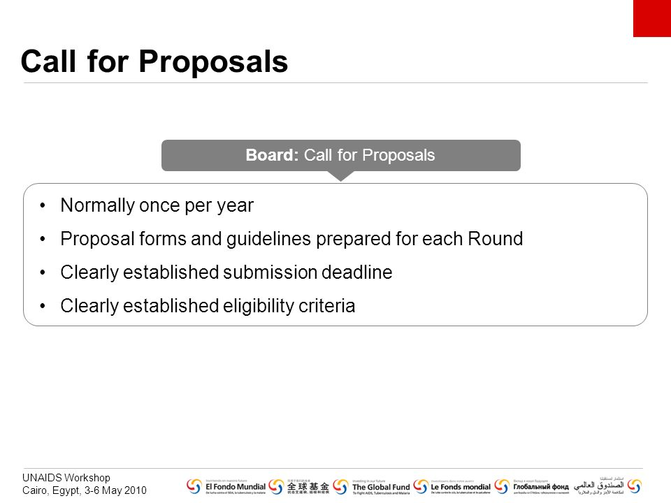 UNAIDS Workshop Cairo, Egypt, 3-6 May 2010 Call for Proposals Board: Call for Proposals 4 - Rejected Normally once per year Proposal forms and guideli