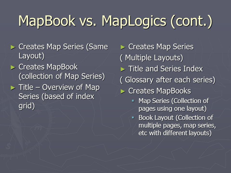 MapBook vs. MapLogics (cont.) Creates Map Series (Same Layout) Creates Map Series (Same Layout) Creates MapBook (collection of Map Series) Creates Map