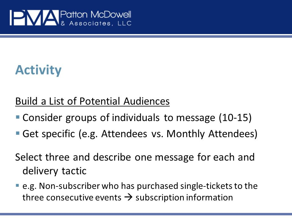 Activity Build a List of Potential Audiences Consider groups of individuals to message (10-15) Get specific (e.g.