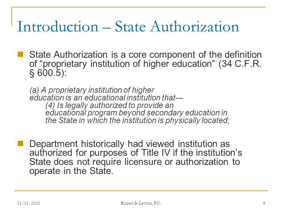 State Authorization Issues and Challenges contd.