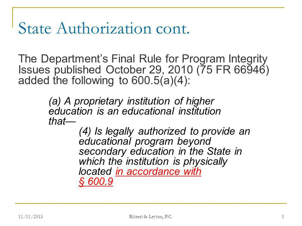 What is State Authorization under § 600.9.