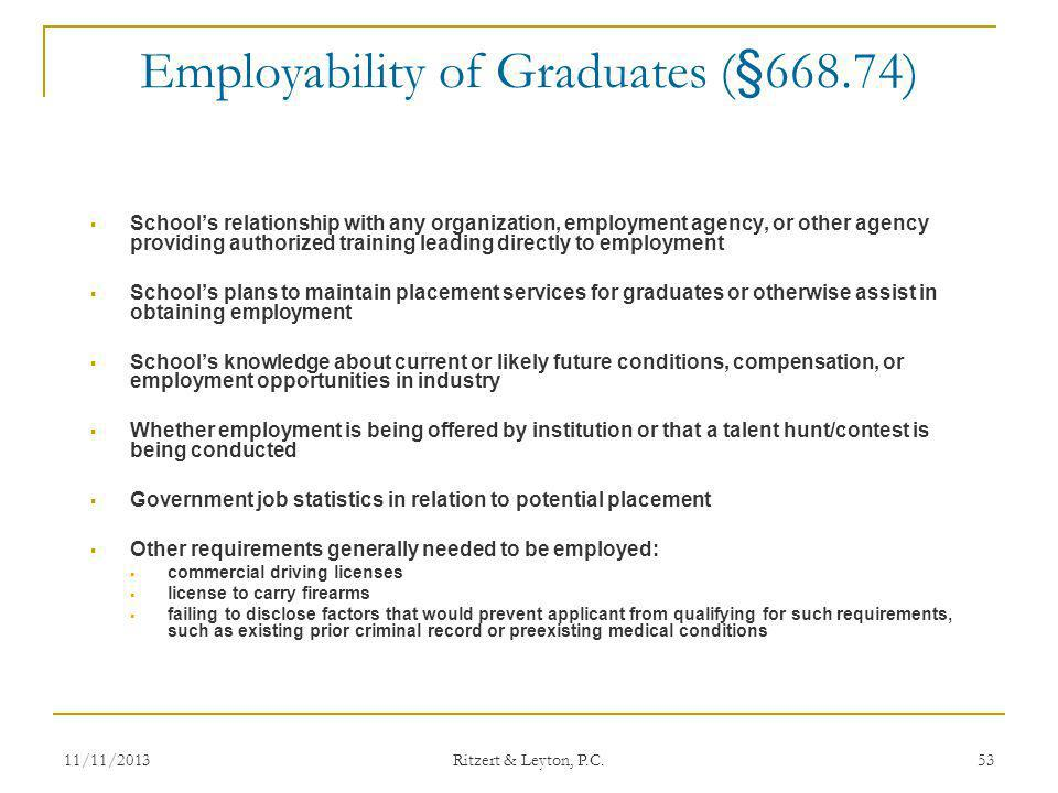 Employability of Graduates (§668.74) Schools relationship with any organization, employment agency, or other agency providing authorized training lead
