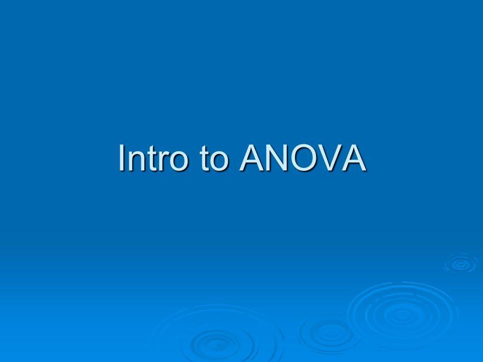 Intro to ANOVA