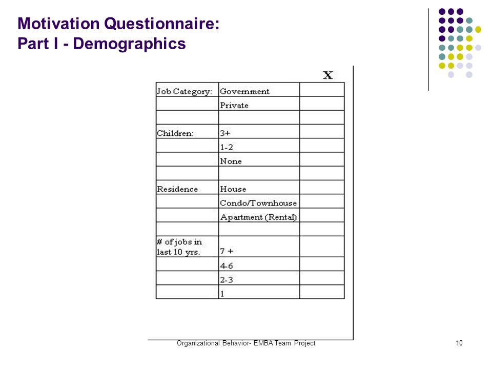 Organizational Behavior- EMBA Team Project10 Motivation Questionnaire: Part I - Demographics