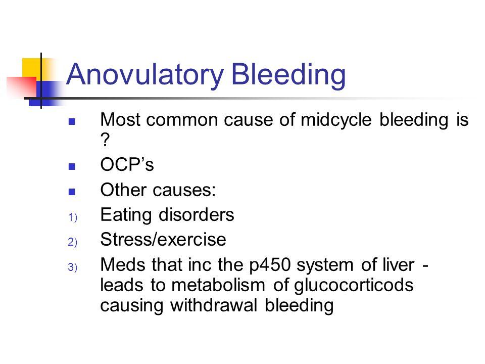 Anovulatory Bleeding Reproductive Age Secondary to ovarian follicular degeneration - decreased estrogen Present classically as prolonged amenorrhea wi