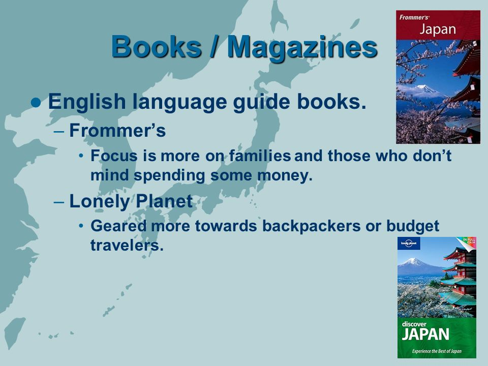 Books / Magazines English language guide books.