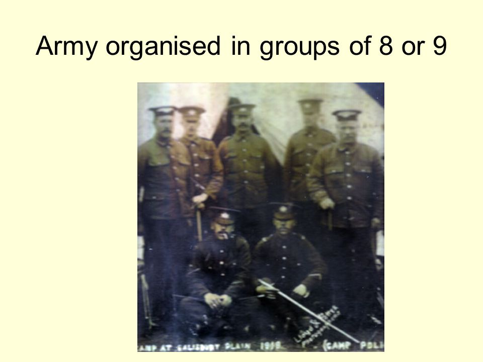 Army organised in groups of 8 or 9
