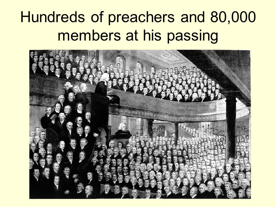 Hundreds of preachers and 80,000 members at his passing