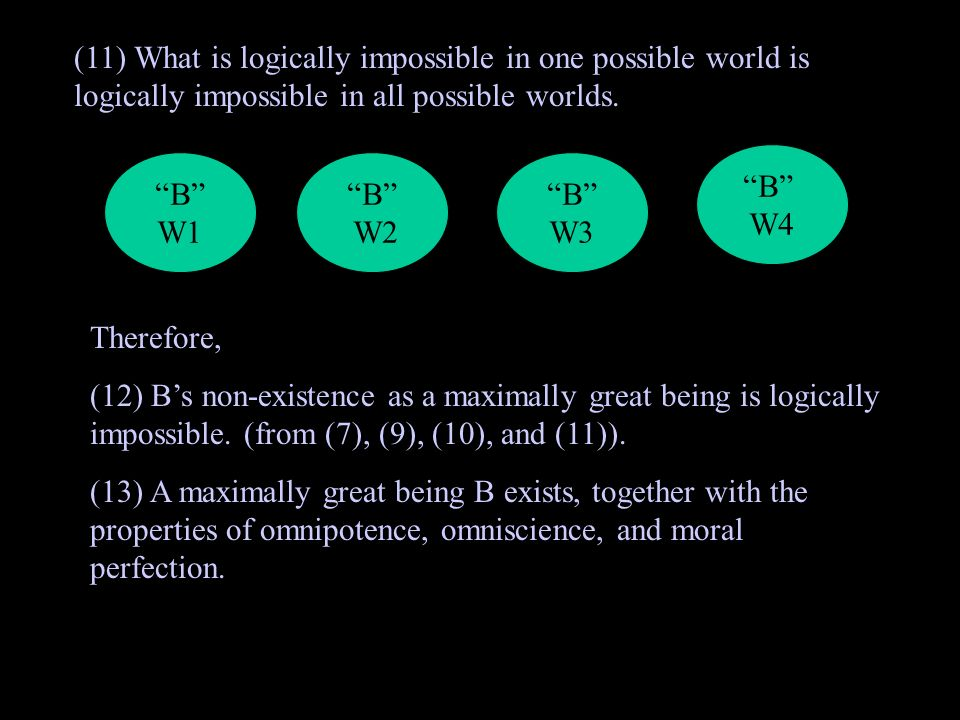 (11) What is logically impossible in one possible world is logically impossible in all possible worlds.