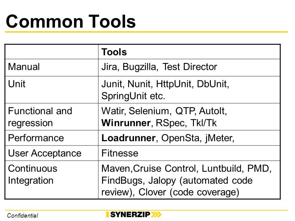 Confidential Common Tools Tools ManualJira, Bugzilla, Test Director UnitJunit, Nunit, HttpUnit, DbUnit, SpringUnit etc.