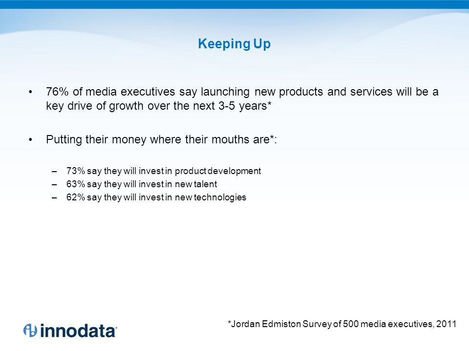 Keeping Up 76% of media executives say launching new products and services will be a key drive of growth over the next 3-5 years* Putting their money where their mouths are*: –73% say they will invest in product development –63% say they will invest in new talent –62% say they will invest in new technologies *Jordan Edmiston Survey of 500 media executives, 2011