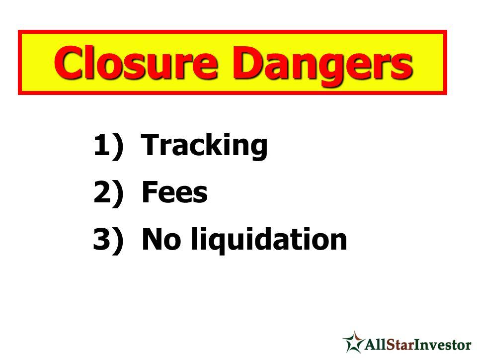 1) Tracking 2) Fees 3) No liquidation Closure Dangers