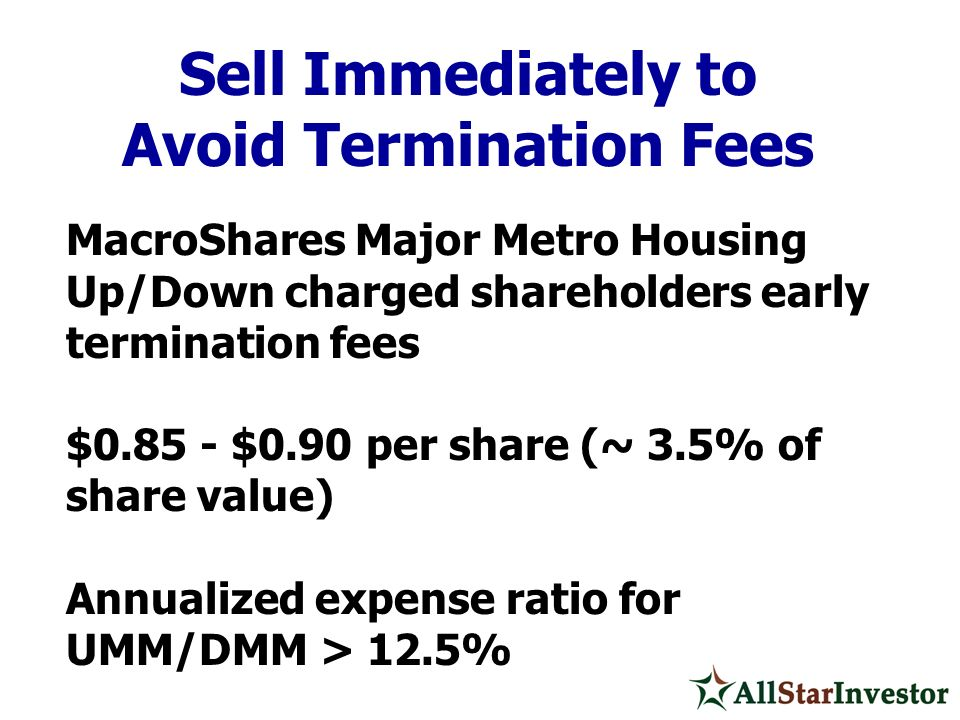 MacroShares Major Metro Housing Up/Down charged shareholders early termination fees $0.85 - $0.90 per share (~ 3.5% of share value) Annualized expense