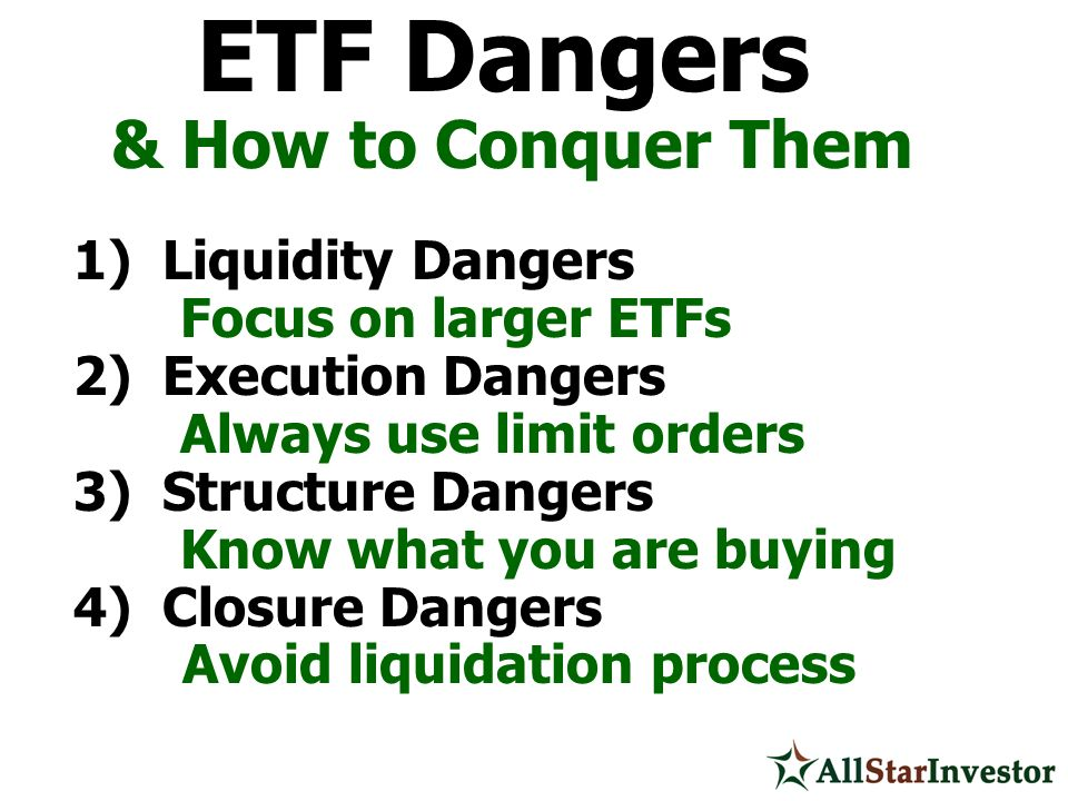 ETF Dangers & How to Conquer Them 1) Liquidity Dangers Focus on larger ETFs 2) Execution Dangers Always use limit orders 3) Structure Dangers Know wha
