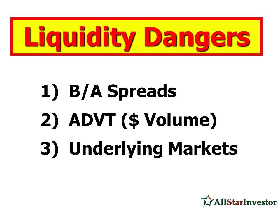 Liquidity Dangers 1) B/A Spreads 2) ADVT ($ Volume) 3) Underlying Markets