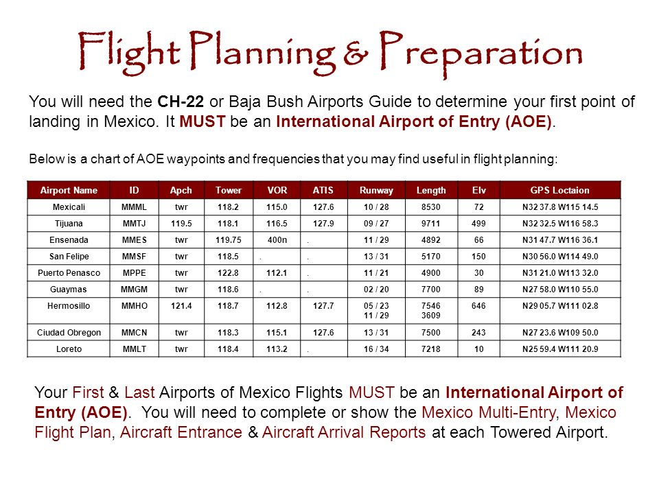 Flight Planning & Preparation You will need the CH-22 or Baja Bush Airports Guide to determine your first point of landing in Mexico.