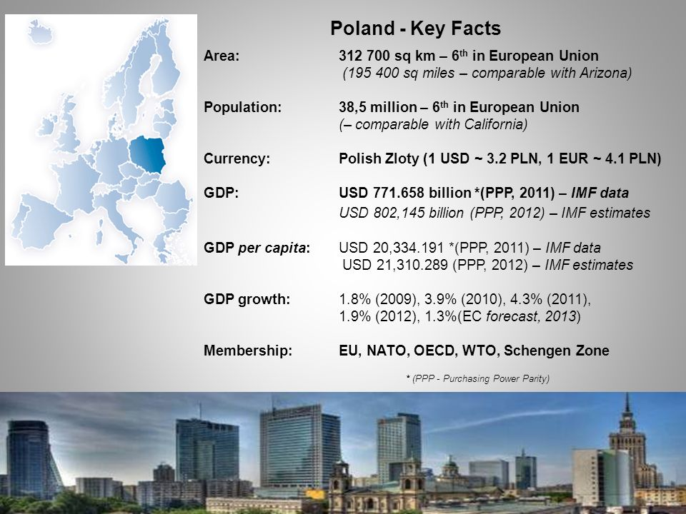 Poland - Key Facts Area:312 700 sq km – 6 th in European Union (195 400 sq miles – comparable with Arizona) Population:38,5 million – 6 th in European