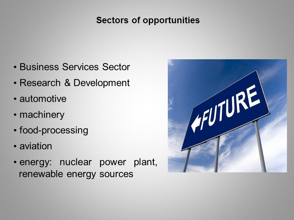 Sectors of opportunities Business Services Sector Research & Development automotive machinery food-processing aviation energy: nuclear power plant, re