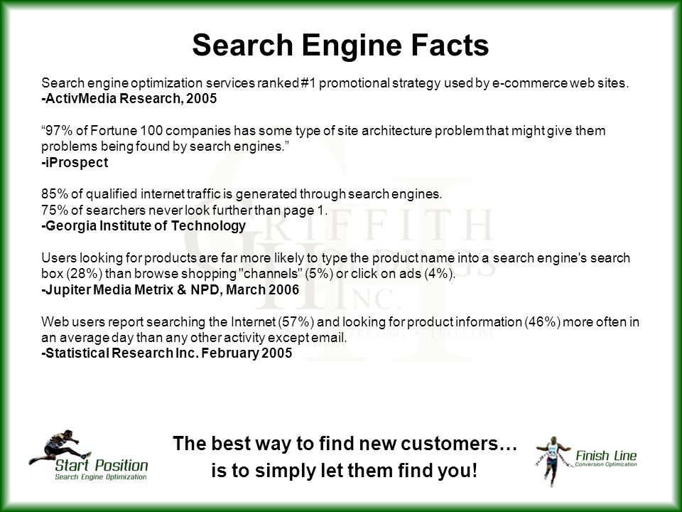 Search Engine Facts Search engine optimization services ranked #1 promotional strategy used by e-commerce web sites.
