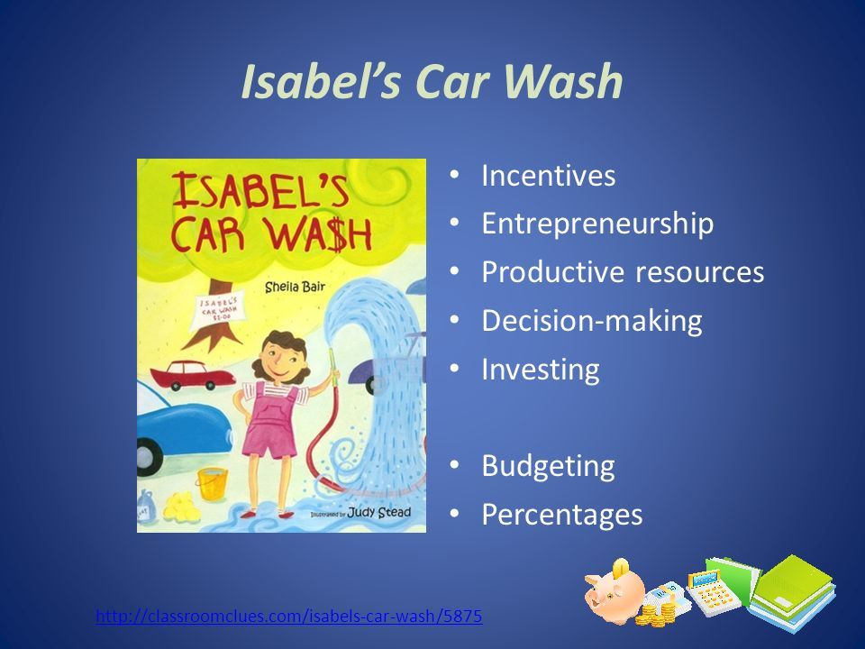 Isabels Car Wash Incentives Entrepreneurship Productive resources Decision-making Investing Budgeting Percentages http://classroomclues.com/isabels-ca